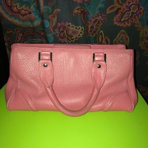 Talbots genuine leather medium pink tote